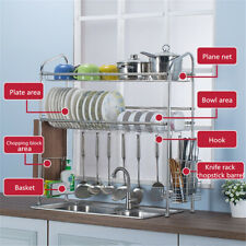 2 Tier Over Sink Dish Drying Rack Shelf Stainless Steel Kitchen Cutlery Holder