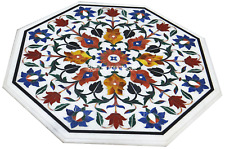 "27"" White Marble Center Table Top Marquetry Inlay Living Room Mosaic Home Decor"