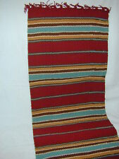 Saddle Blanket Table Runner 13 x 54  Western Turquoise Burgandy  Red Brown Taupe