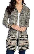 NEW One World Sweater Knit Long Sleeved Open Front Printed Cardigan