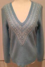 Ann Taylor Sweater Women's Medium V- Neck Blue Fair Isle Wool Blend