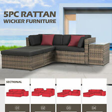 5 PCS Rattan Wicker Sofa Set Sectional Couch Cushioned Patio Furniture Outdoor
