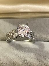 sterling silver cz solitaire ring 2 Carat Signed 925S Size 6 Wedding/Engagement