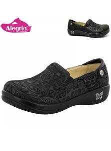 ALEGRIA Keli Black Foral Embossed Comfort Nursing Slip On Shoes Work au7 eu38