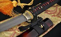 CLAY TEMPERED FOLDED STEEL FULL TANG BLADE JAPANESE SAMURAI SWORD KATANA SHARP