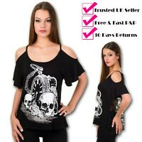 Banned Skull Watch Off Shoulder Alternative Goth Emo Mesh Lace Top UK 8-16