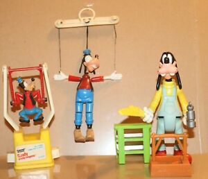Vintage 1970's & 1990's'  Disney GOOFY Tricky Trapeze Marionette and Carpenter