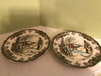 "Lot of 2 vintage Johnson Bros. The Friendly village 6"" plates"