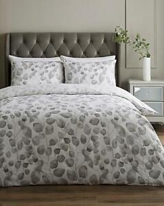 Briony Super King Duvet Set - White / Grey Leaves Bedding -New ONLY 1 PILLOWCASE