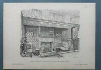 AR90) Architektur London UK 1890 Billard room Byfleet Lodge Holzstich 28x39cm