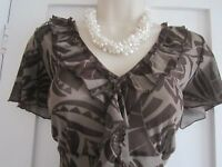 Ladies size 12 Moda at George brown and khaki semi sheer  summer top