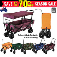 100kg Heavy Duty Collapsible Cart Utility shopping Beach Wagon Trolley w/ Canopy
