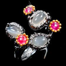 Vintage Natural Moonstone 925 Sterling Silver Ring Size 8/R106113
