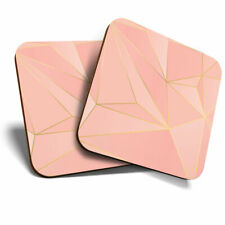 2 x Coasters - Pink Gold Art Deco Triangles Home Gift #14887