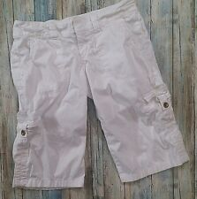 Express Cargo Pants Adjustable Capri Crop Solid White Extra Pocket Womens Size 2