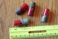 4 Red Bakelite Toggle buttons Vintage barrel lipstick shape copper wrapped ends
