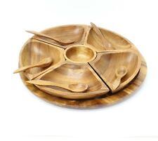 Wood Condiment Set Bowls Spoons Hand Carved Tiki Bar Dinner Vegetable Dip