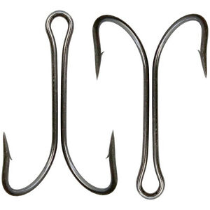 30/60pcs Saltwater Double Hook High Carbon Steel Black Dual Fishing Hooks 8#-4/0