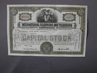 INTERNATIONAL TELEPHONE AND TELEGRAPH CORPORATION STOCK CERTIFICATE Aktie share