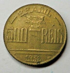 Brazil 500 Reis 1938 Aluminum-Bronze KM#540 UNC