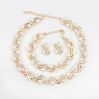 Fashion Gold Plated Rhinestone Jewelry Sets White Pearl Necklace Earrings Set