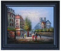 Framed Street Near Notre Dame, Quality Hand Painted Oil Painting 16x20in