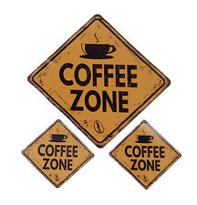 Coffee Zone Fabric Removal & Re-positional Decal Sticker Sign Set of 3