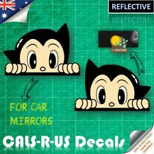 2 x JDM Astro Boy Peek Drift Reflective Vinyl Decal Sticker - Car Side Mirrors
