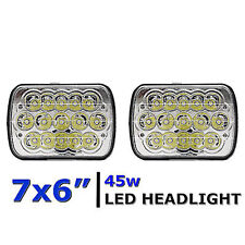 7X6 Crystal Chrome LED  Light Bulb Clear Sealed Beam Headlamp Headlight PAIR