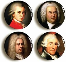 More details for classical music composers badge button pin set (size is 1inch/25mm diameter)