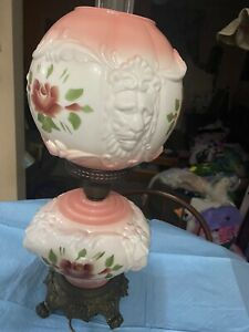 Vintage Lion Head Lamp. Said To Be Milk Glass