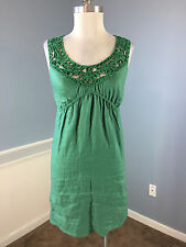 Max Studio Green 100% Linen Dress Excellent Career Cocktail Anthropologie XS