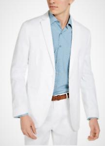 Alfani Men's White Linen Classic-Fit Stretch Herringbone Sport Coat, Medium
