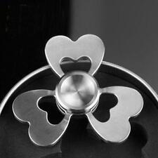 Fidget Spinner 3 Leaf Heart Clover Metal Silver Toy ADHD Stress Reliever NEW
