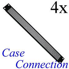 """4x 1HE Rackblende - Lüftungslöcher - gekantet - Stahl # 19"""" Frontplatte 19 Zoll"""