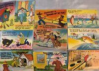 Vintage Funny Comic Postcards HUMOR Fishing Dog Bear Horse Trip Fun Wife Lot 10