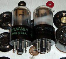 TUBES 2 Sylvania 6SN7GTA chrome top black plates factory matched codes A3B 326