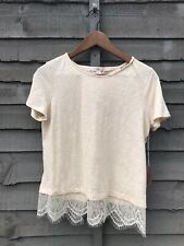 FOREVER 21 CREAM LACE OPEN BACK T-SHIRT. SIZE MED. UK 10-12. BNWT
