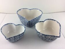 Set of 3 Large Heart Shape Blue & White Speckled Country Nesting Bowls