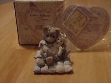 "Calico Kittens ""You're So Huggable"" Kitty Hugging Stuffed Bunny Figurine Cat"