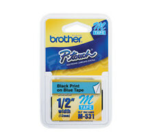 Brother M531 M 1/2 12mm black on blue tape PT70 PT80