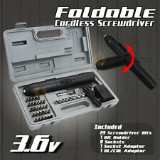 NEW 3.6V Cordless Screwdriver Foldable Socket Bit Set Case 41PC Battery Operated