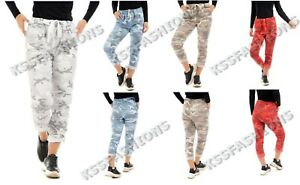 Italian Lagenlook Camouflage Army Print Joggers Stretch Magic Trousers 10 - 22
