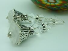Women's Vintage Style White Flower Dangle Earrings Wedding Bridal Jewellery