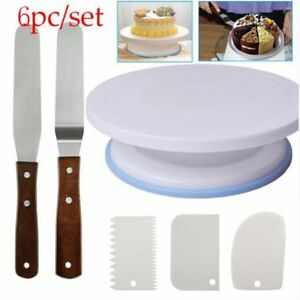 6PCs/Set Plastic Cake Turntable Rotating Cake Plastic Dough Spatula Rotary Stand