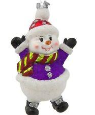 Radko Snowman Wearing a Purple Sweater Ornament