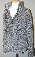 Mimi Maternity Thick Chenille Sweater - Black & White - 1/4 Zip Funnel Neck