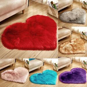 Heart Shape Imitation Sheepskin Rugs Non Slip Faux Fur Carpet Home Floor Mats US