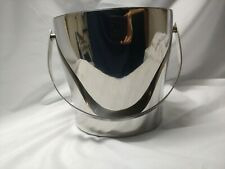 Crate & Barrel Stainless Double Wall Ice Bucket Handled