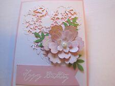 Happy Birthday Eloquent Flower Heart Valentines/Wedding/ Handmade Card Kit Lot 4